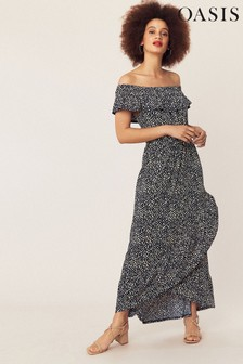 Oasis Blue Isla Bardot Maxi Dress