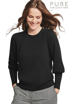 Pure Collection Black Wool Cotton Gold Button Detail Sweater