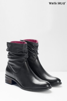 White Stuff Black Rebecca Ruched Ankle Boots