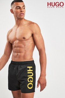 HUGO Black Saba Foil Print Logo Swim Shorts