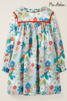 Boden Blue Frill Neck Printed Dress