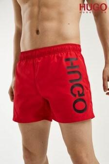 HUGO Pink Saba Foil Print Logo Swim Shorts