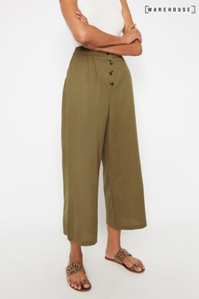 Warehouse Green Button Front Culottes
