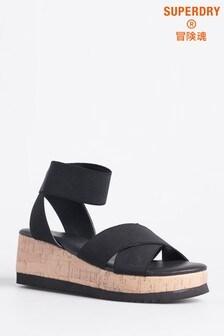 Superdry Black Cork Sandals