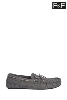 F&F Grey Moccasin Felt Slippers