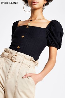 River Island Puff Sleeve Button Top