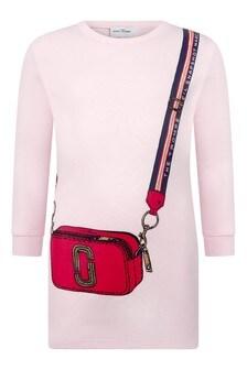 Girls Pink Cotton Bag Print Dress