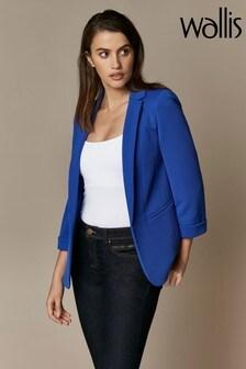 Wallis Blue Ponte Turn Back Cuff Jacket