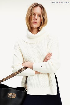 Tommy Hilfiger White Cable Mix Roll Neck Sweater