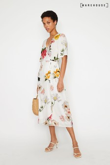 Warehouse Natural Flora Floral Midi Wrap Dress