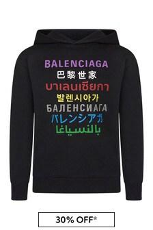 Balenciaga Kids Kids Black Cotton Hoody