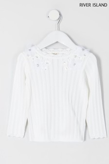 River Island Cream Floral Appliqué Top
