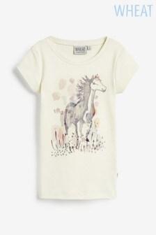 Wheat T-Shirt mit Pferdemotiv, creme