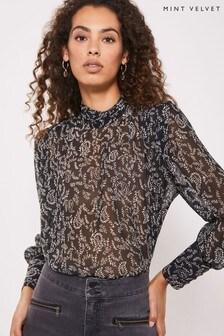 Mint Velvet Grey Jessica Padded Shoulder T-Shirt