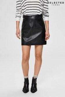 Selected Femme Black Leather Mini Skirt