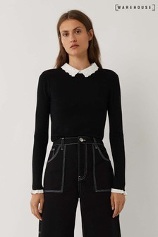 Warehouse Black Lace Collar 3/4 Sleeve Jumper