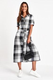 فستان قميص مربعات