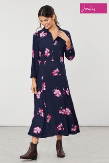 Joules Blue Carla Long Sleeve Button Front Shirt Dress