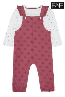 F&F Pink Spot Sweat And Dungarees
