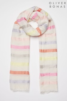 Oliver Bonas White Summer Striped Pastel Scarf