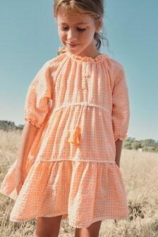 Gingham Tiered Kaftan Dress (3-16yrs)