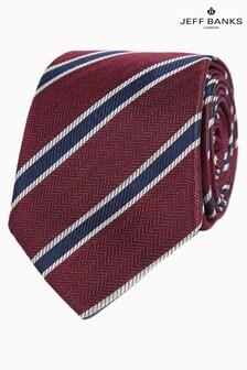 Jeff Banks Red Classic Herringbone Stripe Silk Tie