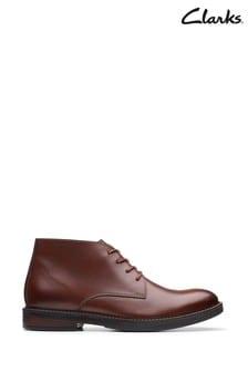 Clarks Mahogany Leather Paulson Mid Boots