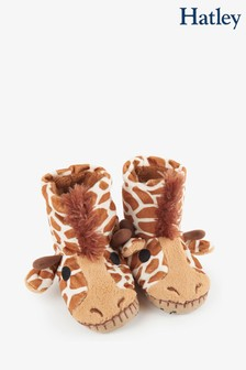 Hatley Kids Brown Giraffe Slippers