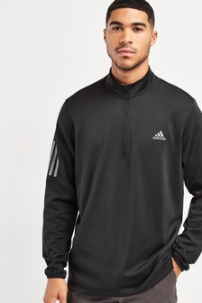 adidas Golf Black 3 Stripe Midweight 1/4 Zip Sweater