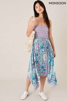Monsoon Scarf Print Hanky Hem Dress in LENZING™ ECOVERO™
