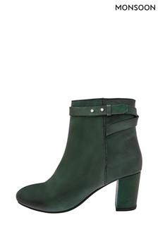 Monsoon Green Bel Strap Leather Ankle Boots