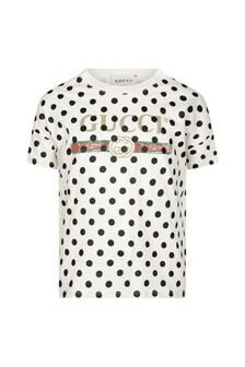 Kids White Cotton Polka Dots Vintage Logo T-Shirt