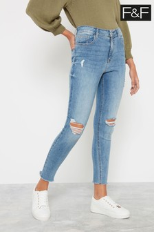 F&F Mid Wash Push Up Ripped Skinny Jeans