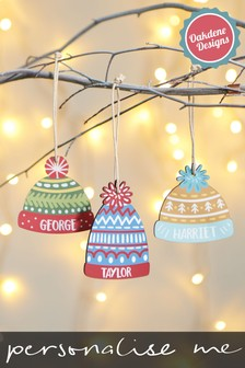 Personalised Hat Hanging Decoration by Oakdene Designs