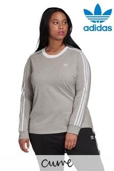 adidas Originals Curve 3 Stripe Long Sleeved T-Shirt