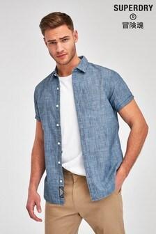 Superdry Blue Loom Short Sleeve Shirt
