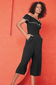 Embroidery Trim Bardot Jumpsuit