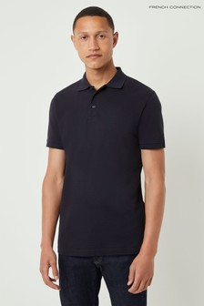 French Connection Blue Popcorn Jersey Polo