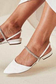 Bridal Satin Two Part Slingback Shoes