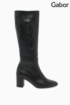 Gabor Black Verano Calf Fit Leather Long Leg Boots