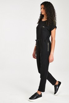 Barbour® International Black Gold Trim Zone Jumpsuit