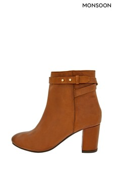 Monsoon Brown Bel Strap Leather Ankle Boots