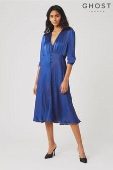 Ghost London Blue Lissa Darcie Dash Print Satin Dress