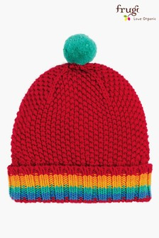 Frugi Red Organic Cotton Rainbow Bobble Hat