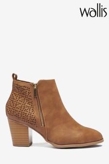 Wallis Wendie Tan Laser Cut Side Zip Boots