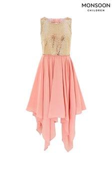 Monsoon Pink Kendall Hanky Hem Prom Dress