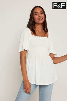 F&F White Shirred Milkmaid Top