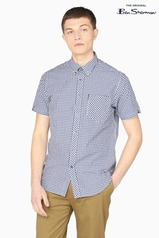 Ben Sherman Blue Short Sleeve Signature Core Gingham Shirt