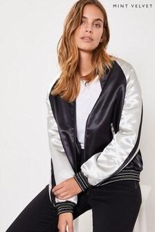 Mint Velvet Black Varsity Bomber Jacket