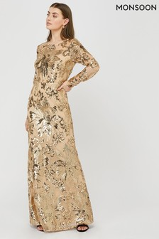 Monsoon Rose Gold Long Sleeve Sequin Maxi Dress